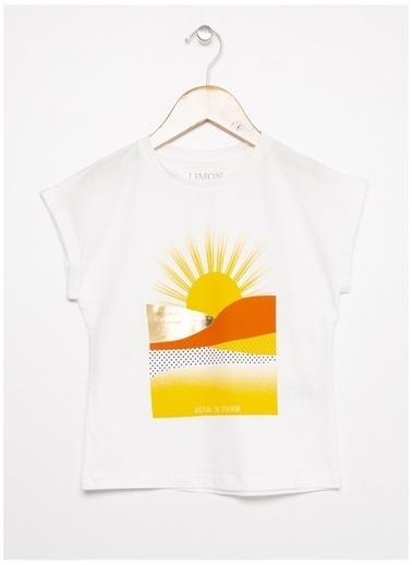 Limon Company Limon Beyaz Bisiklet Yaka Görsel Baskılı Kız Çocuk T-Shirt Beyaz